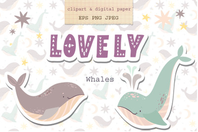 Whales clipart. Pastel whales.