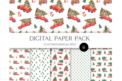 Red Christmas truck digital paper pack, Red Christmas seamless pattern