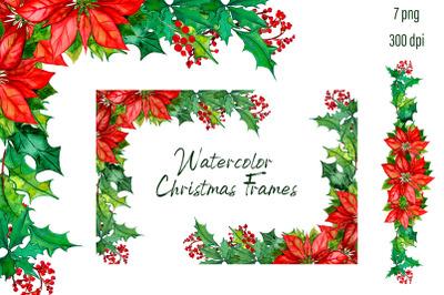 Christmas Wreath poinsettia Clipart
