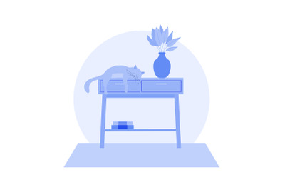 Cute Cat Sleeping on a Table Illustration