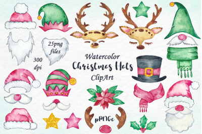 Watercolor Christmas Holiday Funny Hats Clipart