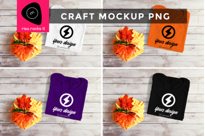 Folded Tee with Fall Pumpkin | PNG Mock Up