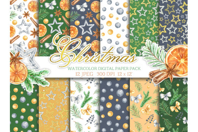 Watercolor christmas digital paper pack new year seamless patterns tre
