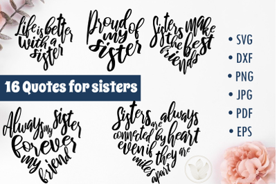 Quotes for sisters svg cut files, Lettering designs