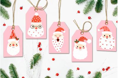 Printable Christmas Gift Tags, Digital Christmas Santa Claus Tags