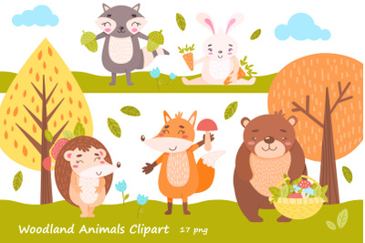 Woodland Animals Clipart. PNG 13