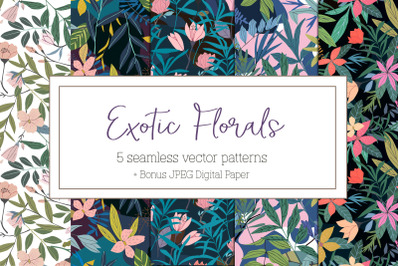 Exotic Florals seamless patterns
