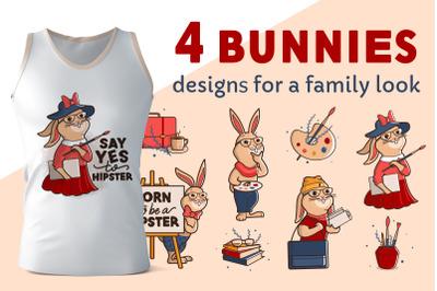 Set of hip Bunnies. Vintage designs