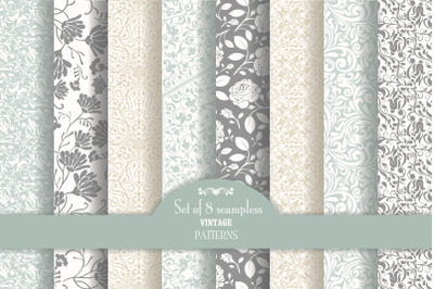Set of 8 seamless pattern Baroque