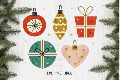 Merry Christmas clip art illustration.