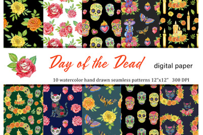 Watercolor Day of the Dead mexican seamless patterns set