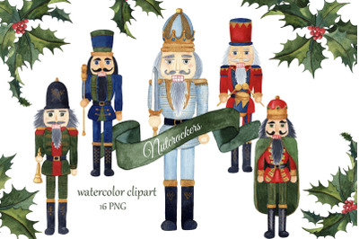 Watercolor Nutcrackers Christmas Clipart. Winter Greenery Holly