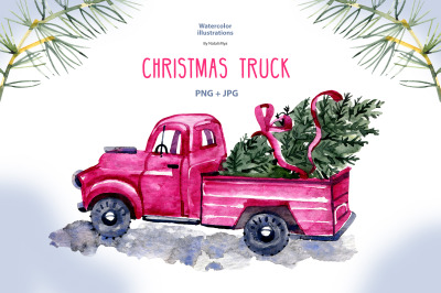 Watercolor christmas truck