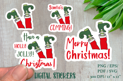 Funny Stickers ELF with sign. 4 different stickers designs.