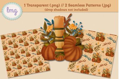 Fall Candlestick and Pumpkins Seamless Patterns