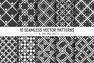 10 seamless geometric rhombuses vector patterns
