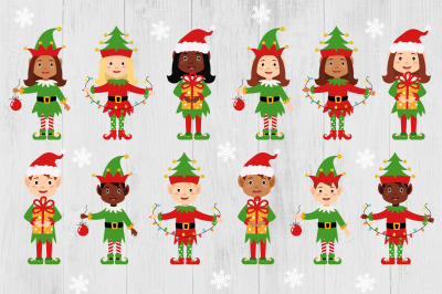 Christmas Elves Clipart Bundle, Christmas Elves PNG, Girl Boy Elves