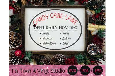 Christmas Sign Svg, Candy Cane Lane, Candy Canes, Santa, Hot Cocoa, Ci