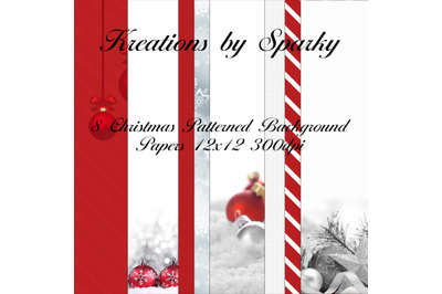 Red & White Digital Christmas Pattern Background Papers