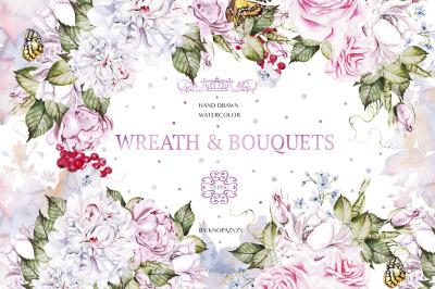 53 Watercolor Wreath&Bouquets