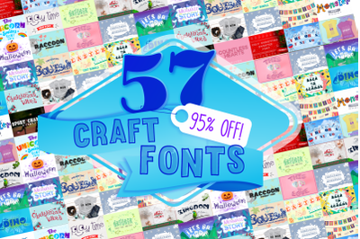 All Shop Craft Fonts Bundle with 57 Fonts