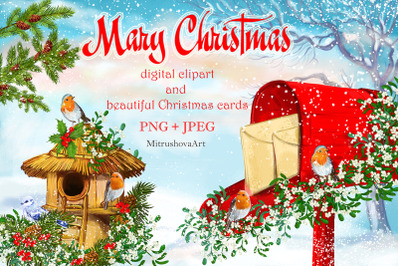 Merry Christmas clipart illustrations