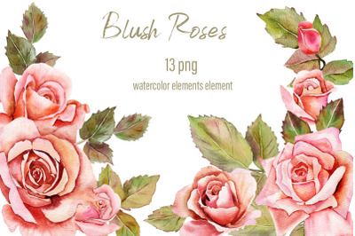 Pink Blush Watercolor Floral Clipart