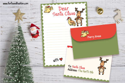 Santa Claus and Rudolph Doodle letter template