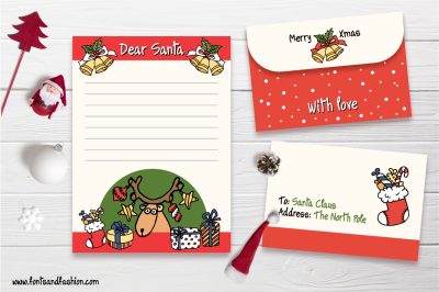 Santa Claus, Rudolph and gifts Doodle letter template