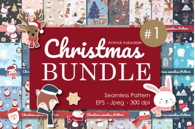 Bundle Christmas Animal Adorable Collection Seamless Pattern