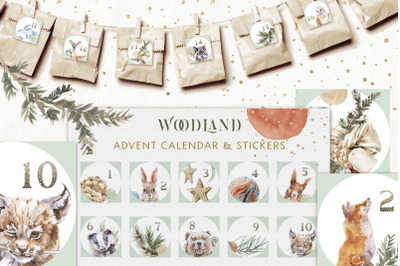 Christmas Watercolor Woodland Advent Calendar Stickers Set