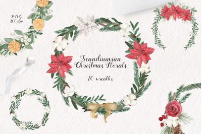 Scandinavian Christmas Wreaths Watercolor Set. 10 PNG files