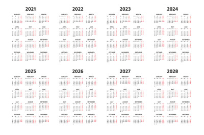 Calendar 2021, 2022 and 2028