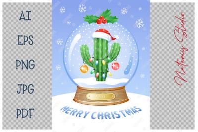 Christmas Snow Globe with funny Cactus.