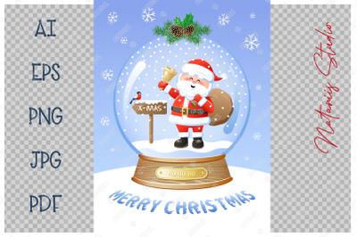 Christmas Snow Globe with funny Santa Claus.