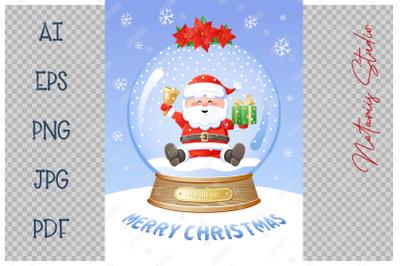Christmas Snow Globe with cute Santa Claus.