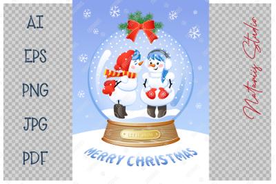 Cute Christmas Snow Globe with a Kissing snowmen inside.