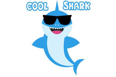 Baby shark Svg, baby shark with glasses svg,  Boy Shark clipart, funny