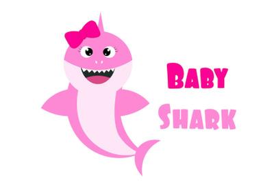 Baby shark Svg, baby girl shark  svg,  Shark clipart, funny shark svg.