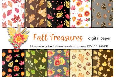 Watercolor autumn leaves and flowers seamless pattern