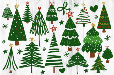 Christmas Trees Svg, Hand Drawn Christmas Tree Svg, Merry Christmas