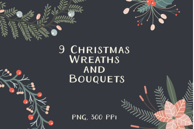Christmas Wreaths And Bouquets Clipart
