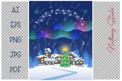 Merry Christmas. Aurora Borealis in the night sky.