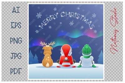 Santa Claus, Reindeer and Snowman watching the Aurora.