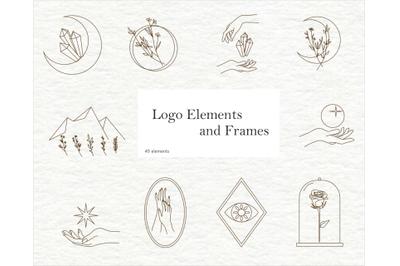 Elements for logo-mystical elements - modern logo floral-vector hands-
