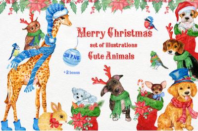 Merry Christmas.Cute animals