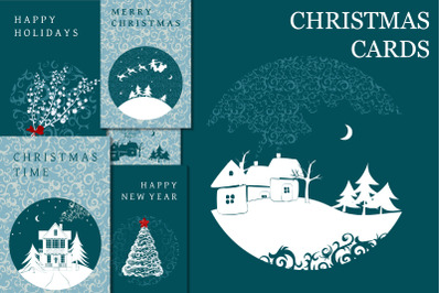 Frozen Christmas. Greeting Cards