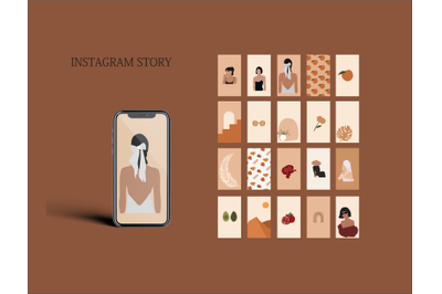 Terracotta Instagram Templates, Blank Insta Backgrounds, Abstract Inst