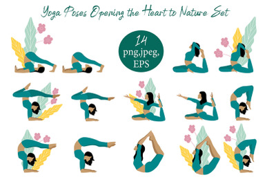Yoga exercise. The Sun and natur Salutation