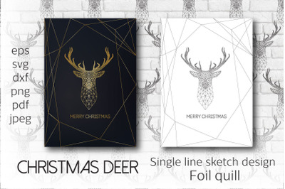 Christmas Deer. Single line sketch design.